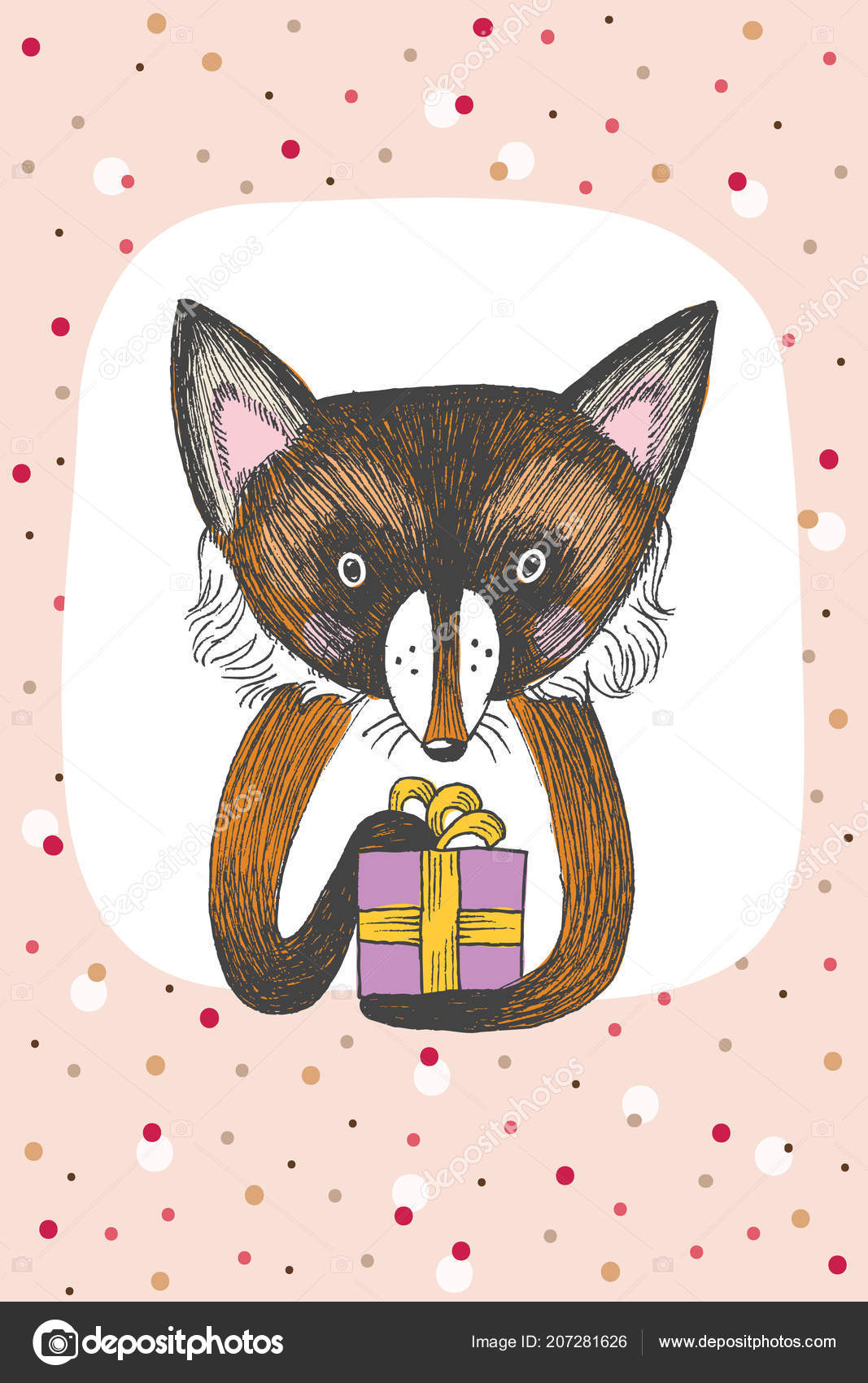 Greeting Card Design With Cute Fox Keeps A Gift Happy Birthday Invitation Template Funny