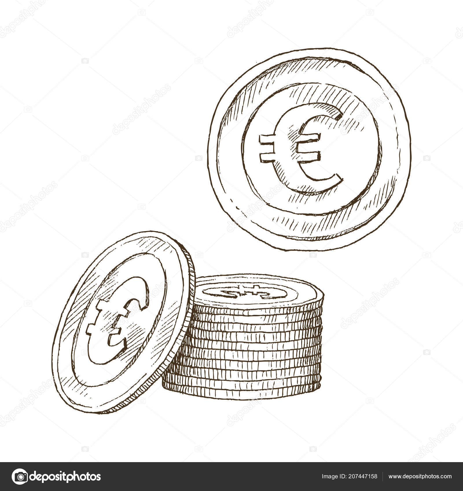 Doodle Icons Of Coins On The Isolated White Background Money Euro