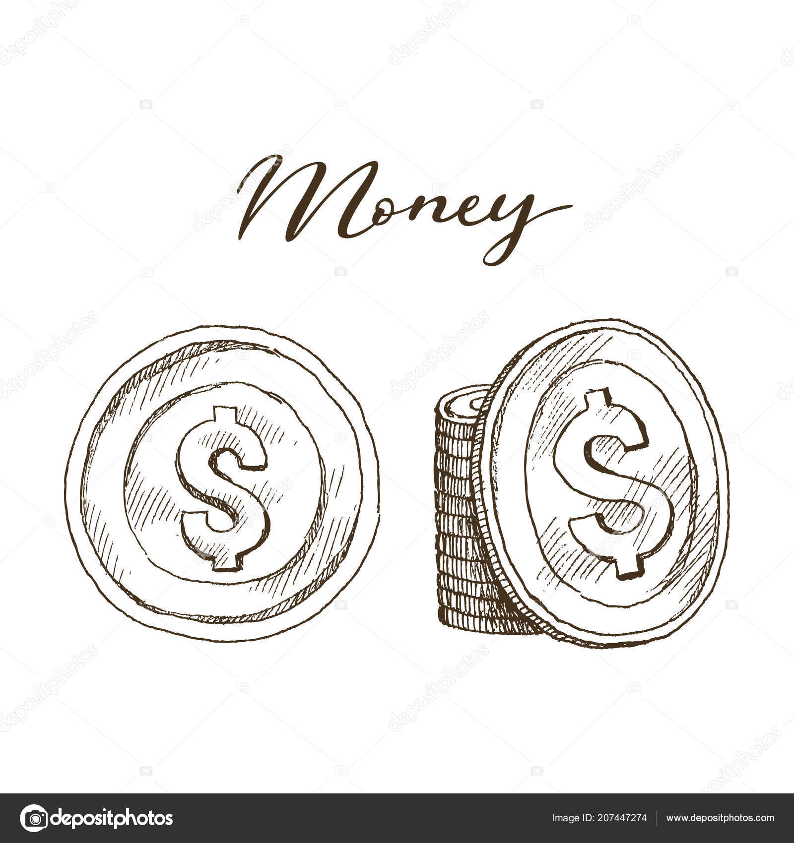 Doodle Icons Of Coins On The Isolated White Background Money Dollar