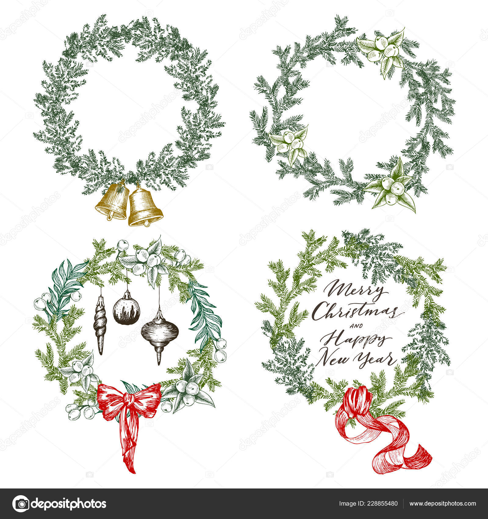 New Year Greeting Card Elements Christmas Wreath Set With Winter Floral Hand Drawing Vector Illustration In Engraving Style Vector Image By C Ledepict Gmail Com Vector Stock 228855480