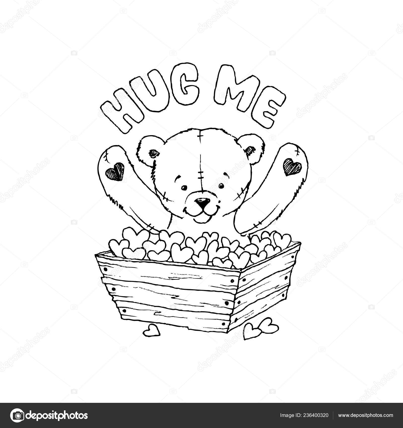 Teddy Bear Toy With Hearts Coloring Book Vector Illustration Hug