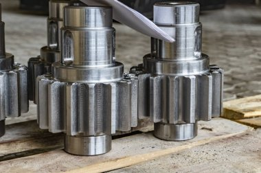 Shaft gear after manufacturing on a rack