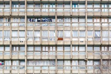 Flat housing block, Robin Hood Gardens, in East London