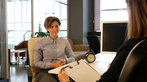 New employee interview with hr manager at office