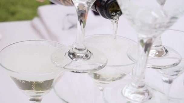 Champagner Gläser Pyramide in der Natur
