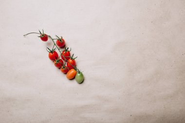 many yellow and red cherry tomatoes on a gray background