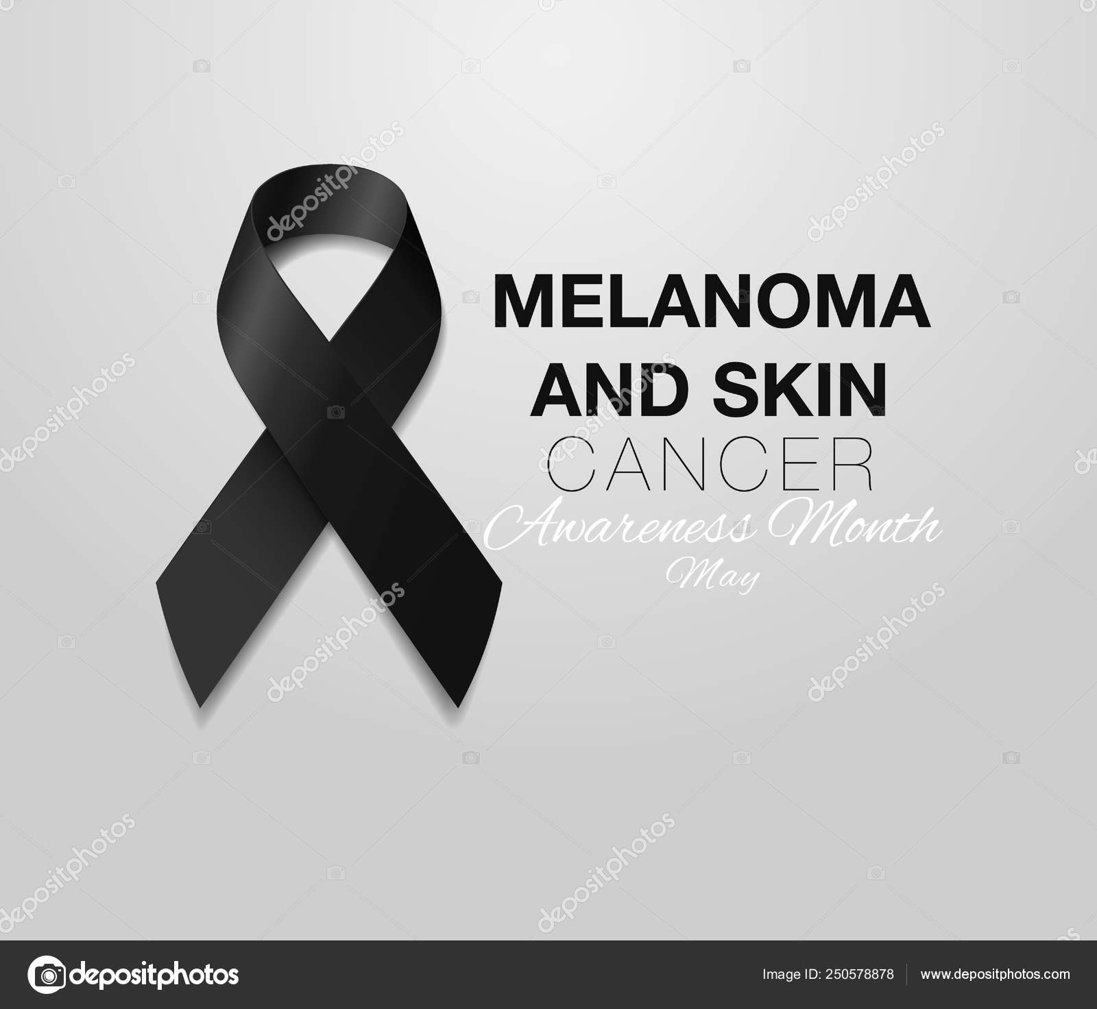 Melanoma And Skin Cancer Awareness Calligraphy Poster Design Realistic Black Ribbon May Is Cancer Awareness Month Vector Stock Vector C Irkus Life Gmail Com 250578878