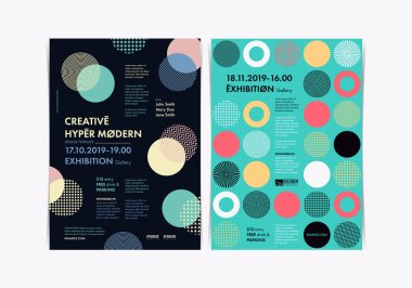Set of Flyer templates with geometric shapes and patterns, 80s memphis geometric style. Vector illustrations.