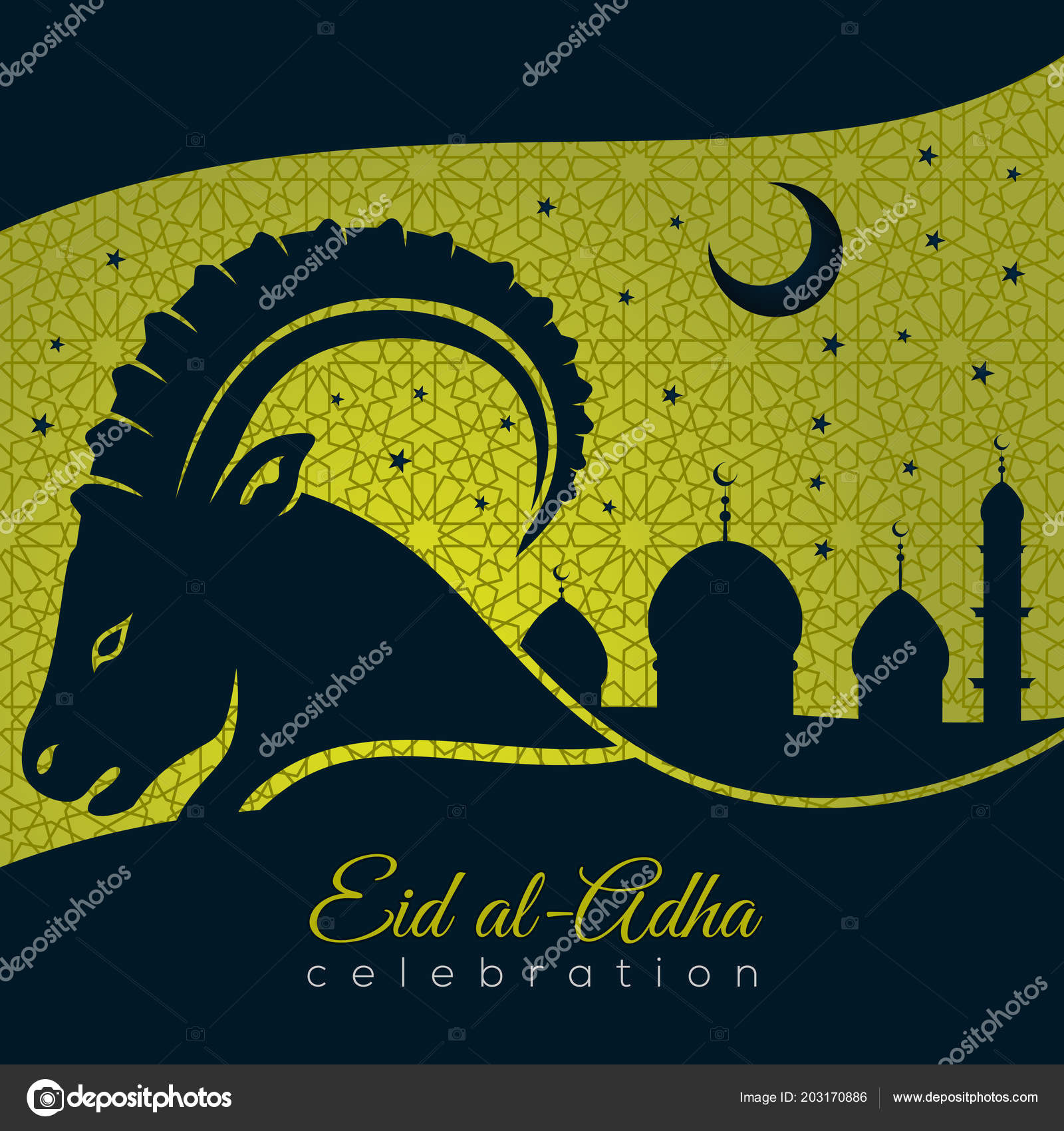 Muslim Festival Of Sacrifice Eid Al Adha Greeting Card With Sheep