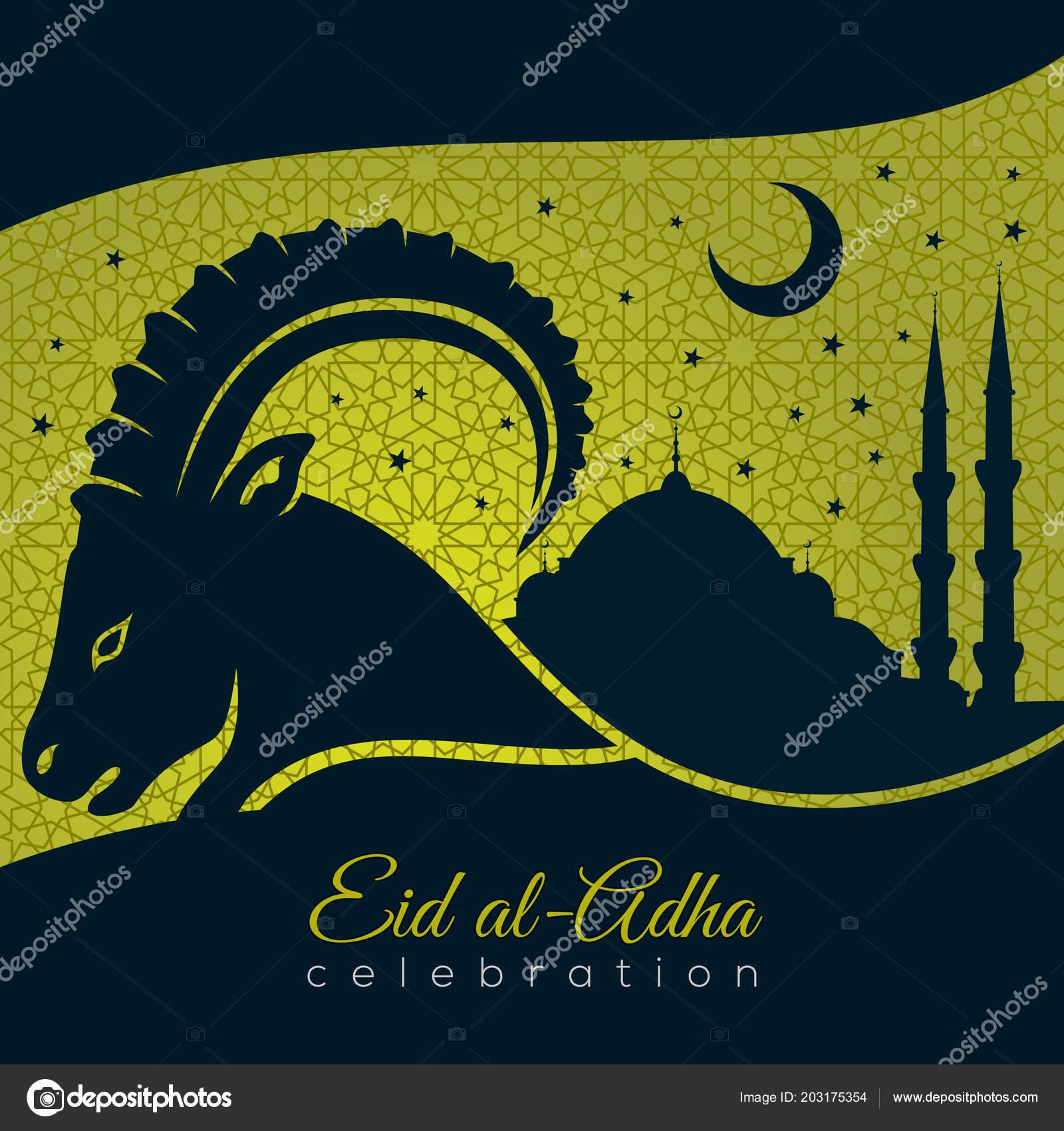Muslim Festival Of Sacrifice Eid Al Adha Greeting Card With Sheep