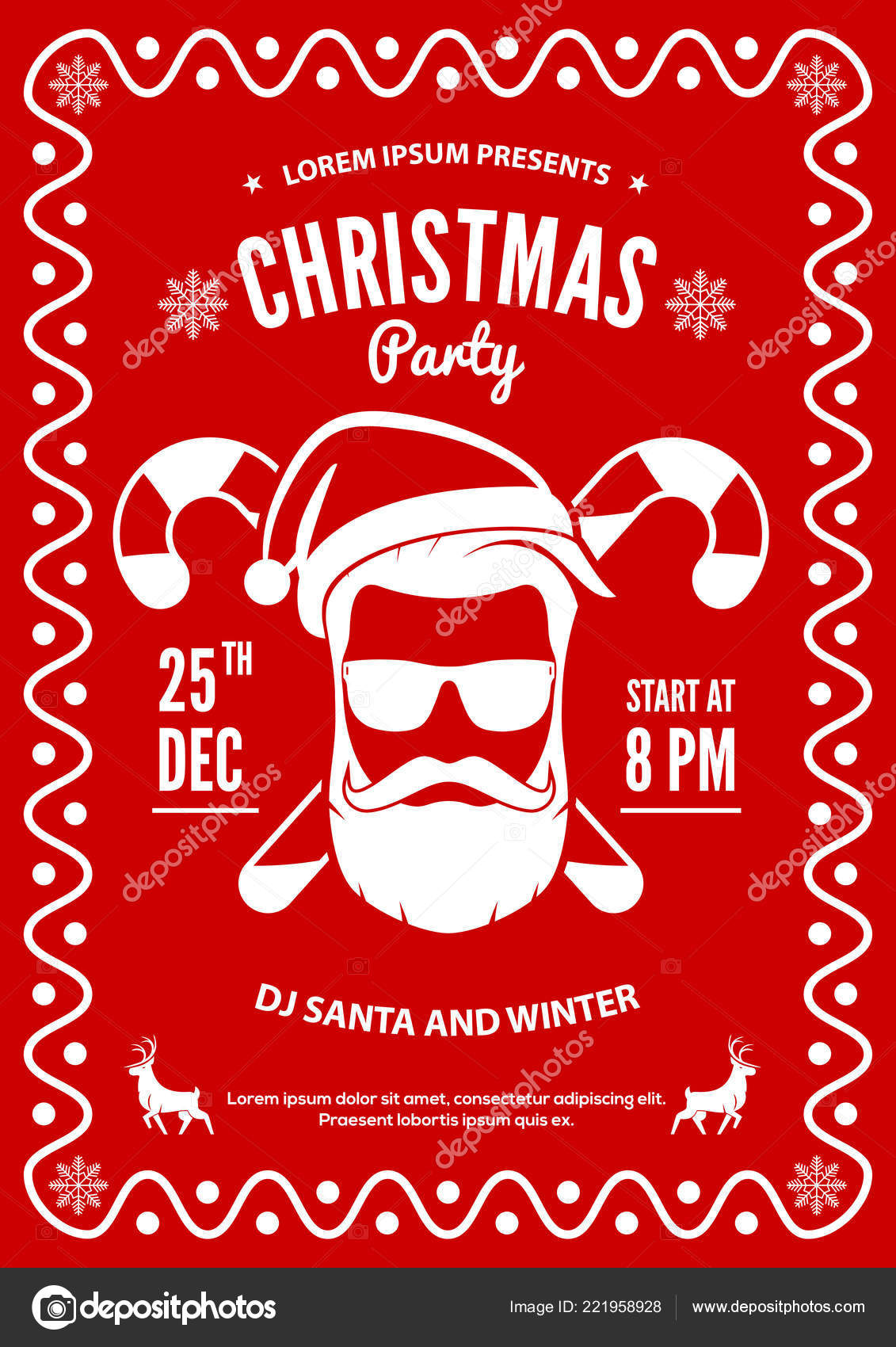 christmas party invitation flyer or poster design with santa claus