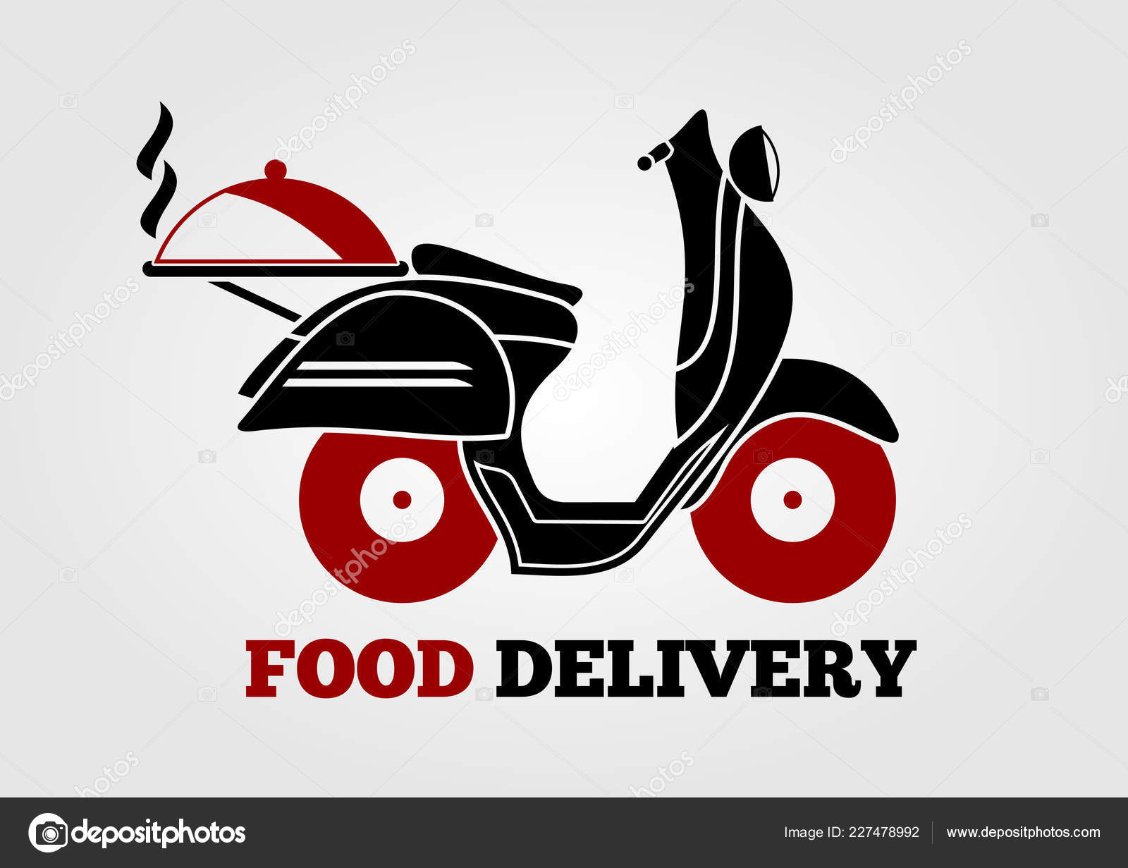 food delivery logo design with retro scooter vector illustration stock vector c zfmbek 227478992 https depositphotos com 227478992 stock illustration food delivery logo design with html