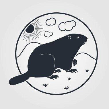 Groundhog icon on a white background. Vector illustration