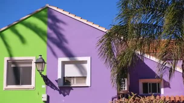 Typical Spanish Colorful House Facade Palm Yard Sunny Summer Day