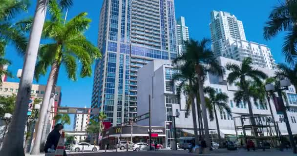 Miami, Florida - FEB 20, 2019: Urban timelapse with business center skyscraper
