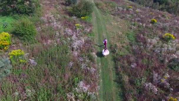 Bride and groom aerial view of young marriage couple running on the countryside road