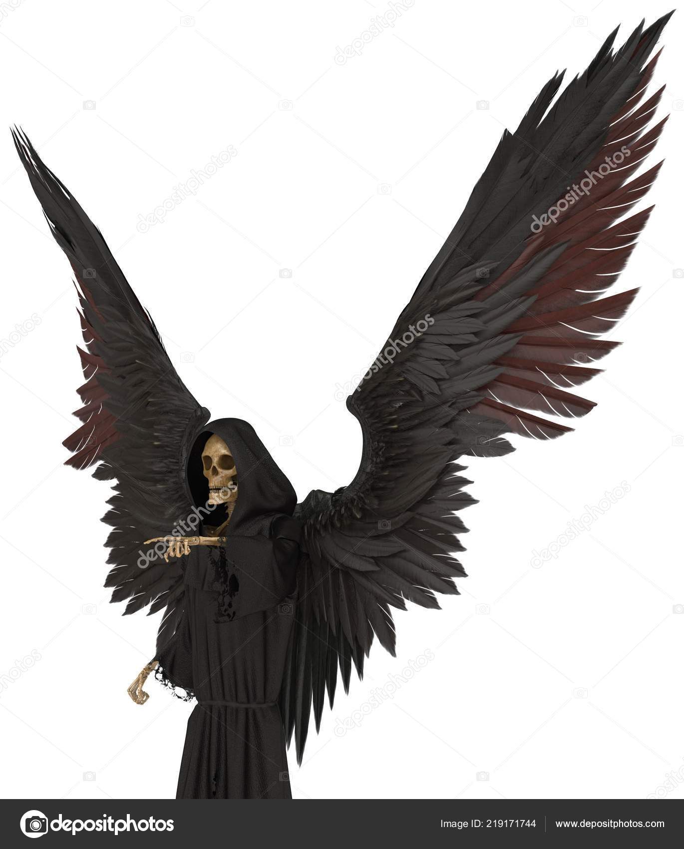 3d illustration angel of death isolated on white background photo by