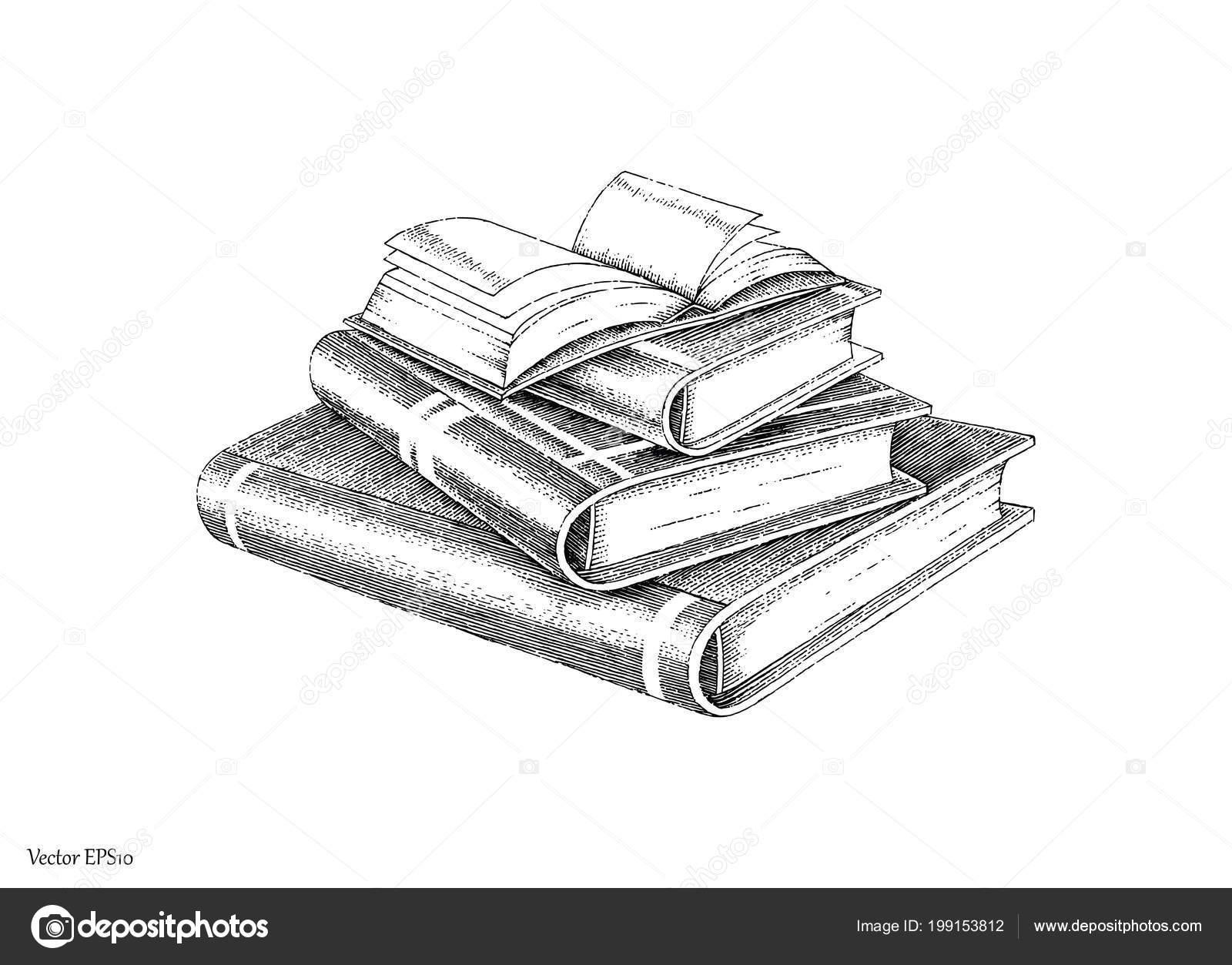 Main Pile Livres Dessin Ligne Style Vintage Noir Blanc