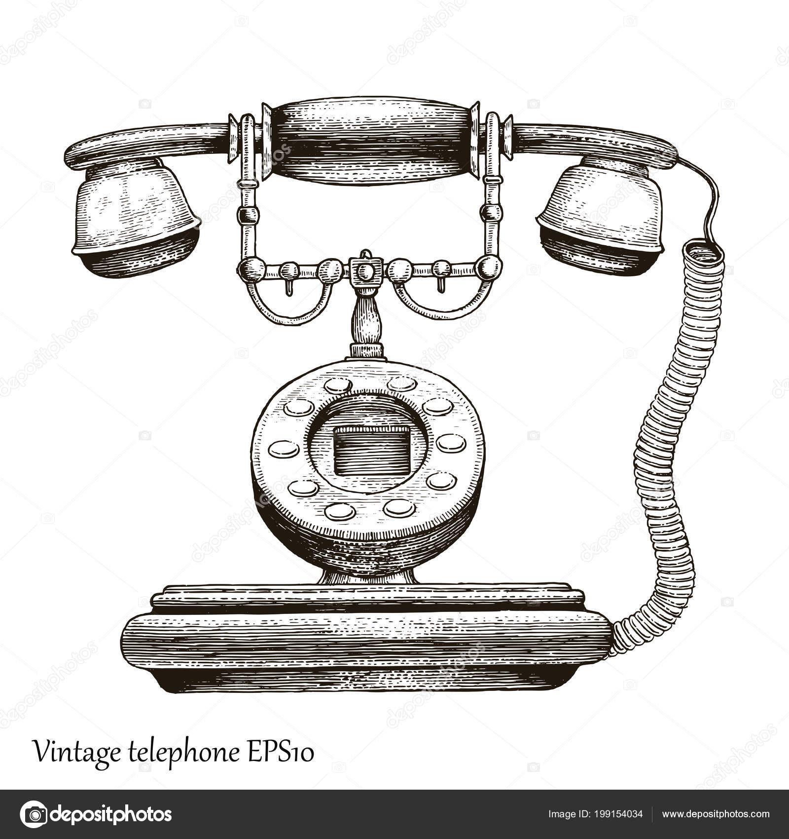 Imágenes De Teléfonos Antiguos Para Dibujar Teléfono Vintage Mano