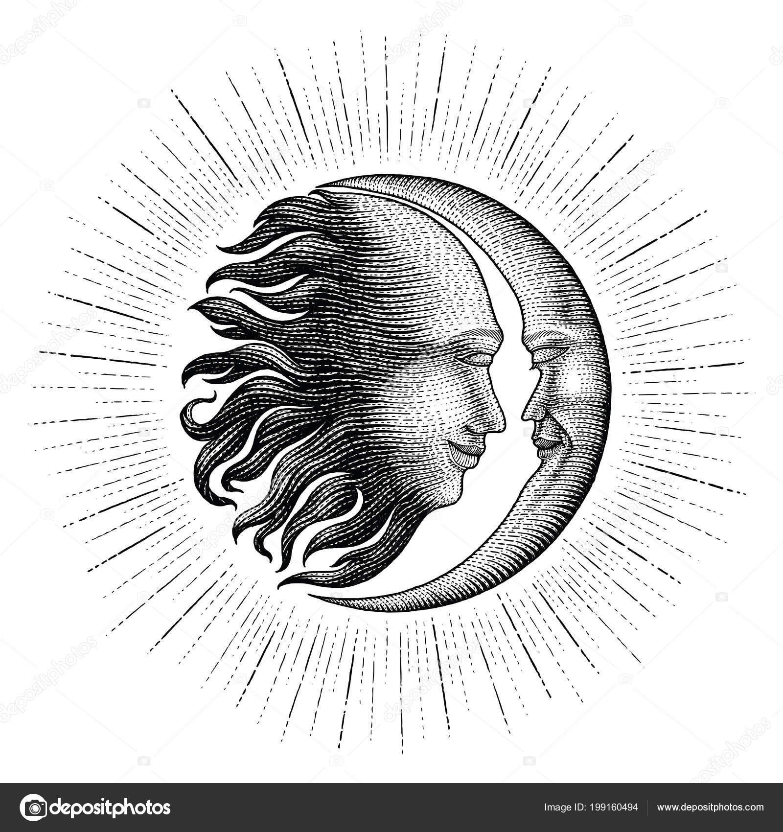 Twarz Słońce Księżyc Blask Rysunek Styl Vintage Grawerowanie
