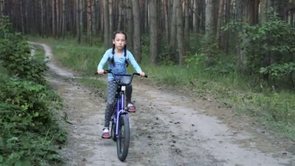 Malá holčička na fialové kolo jede na lesní cestě k fotoaparátu při západu slunce, se dívá na kameru a úsměvy. Portrét. Střelba v pohybu. 4 k. 29,97 fps.