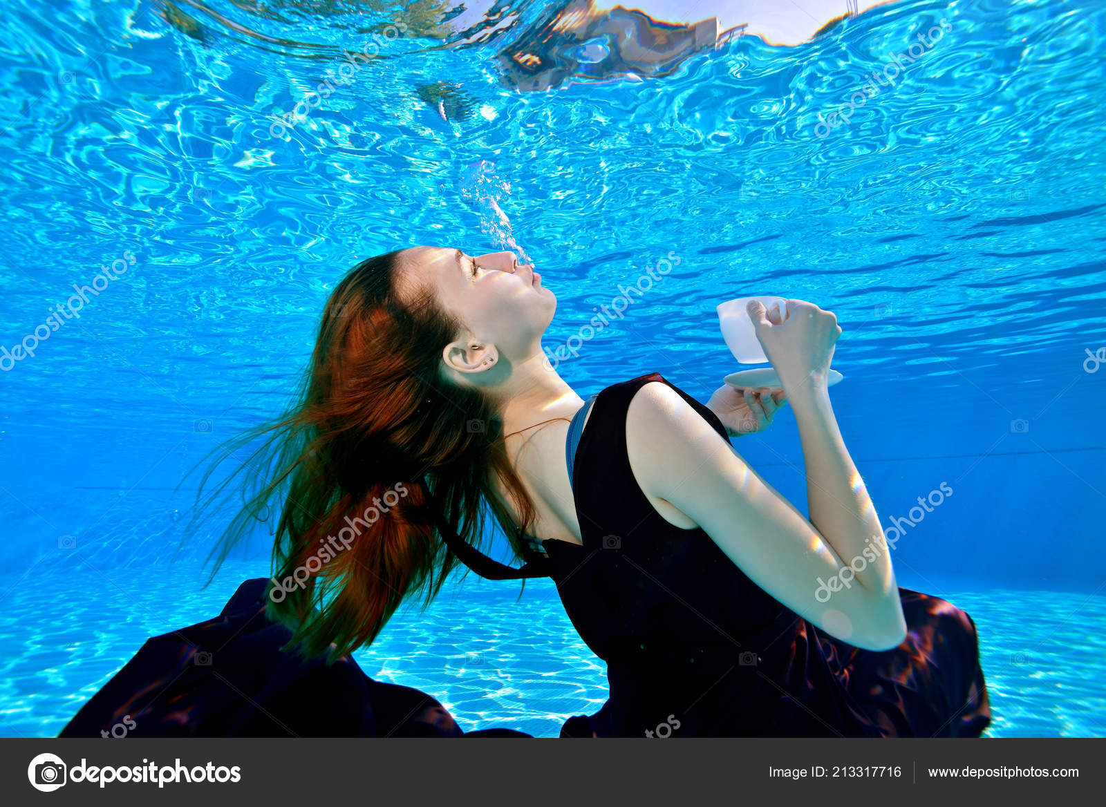 Young Girl Red Hair Beautiful Dress Swimming Underwater Pool ...