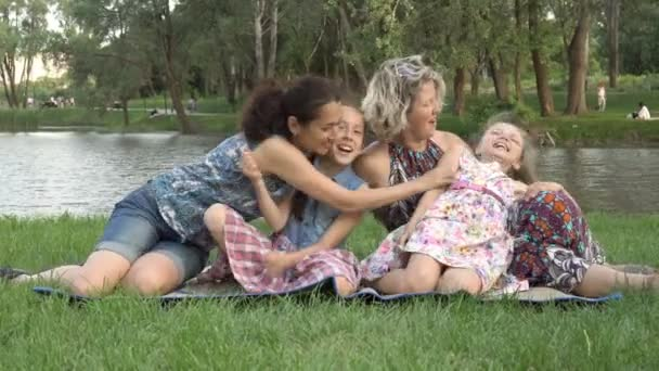 Happy Same Sex Family Two Mothers And Two Little Daughters Play