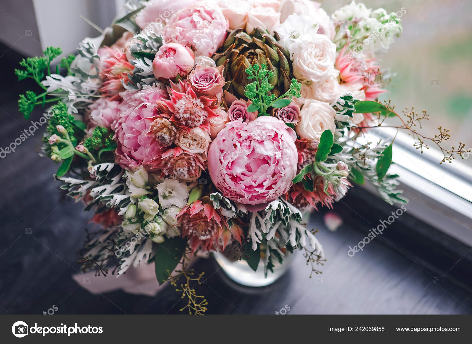 Big Beautiful Wedding Bouquet Spring Flowers Wooden Background Peonies Roses Stock Photo C Dashagrebenchuk Gmail Com 242069858