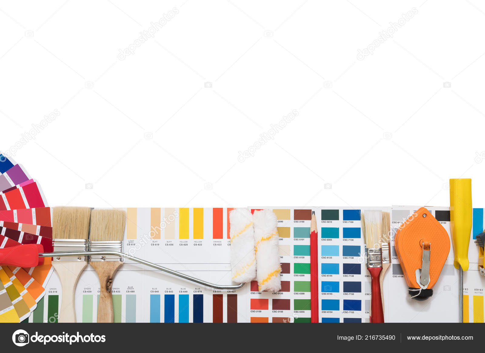 Professional Decorator Drawing House Project Work Tools Stock