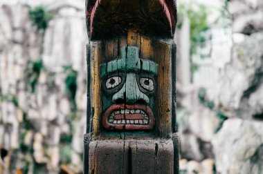 close up view of traditional national indian totem