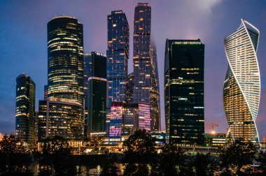 urban view of Moscow city skyscrapers during night time