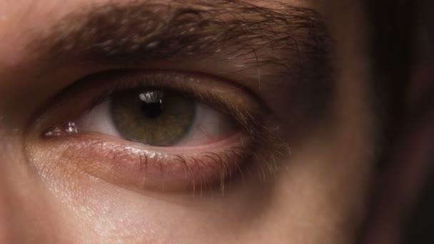 Close up macro shot of male eye. Man with tanned skin blinking eye.