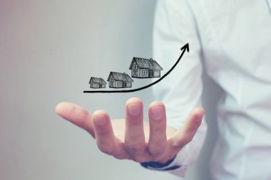 Rising cost of houses, real estate concept