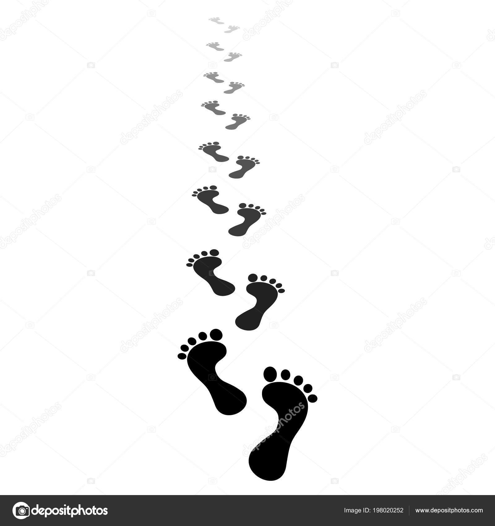 black silhouette human footprint footprints of bare feet walking