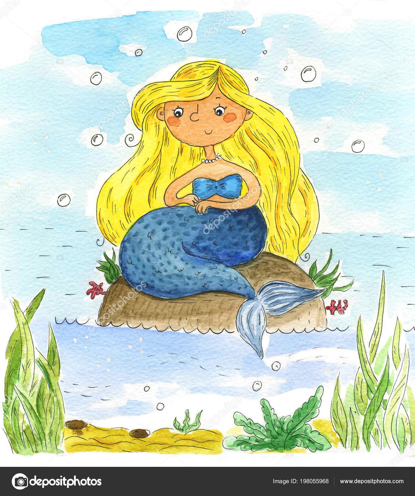 Sirena De Acuarela Cute Dibujos Animados Pintados Ilustración