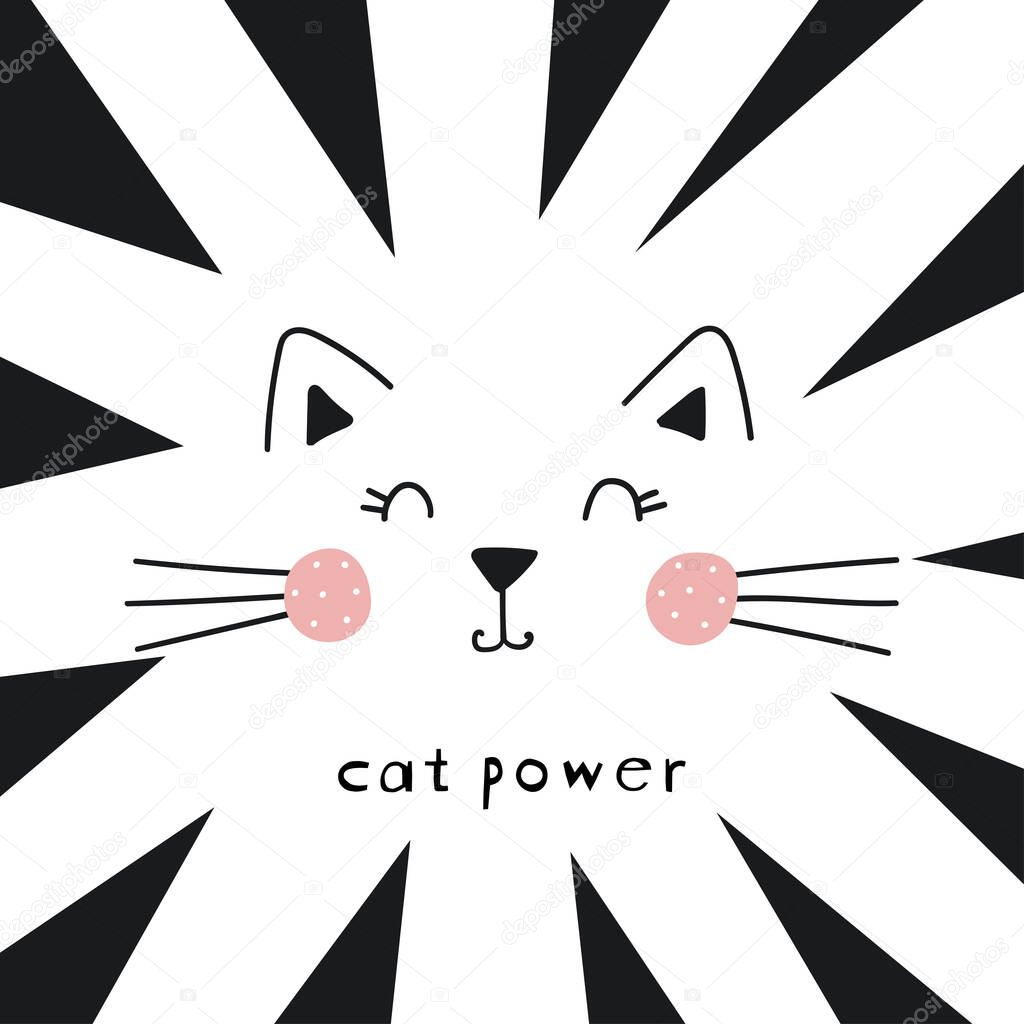 Cute cat vector design.Children illustration for School books and more. Cat power slogan. Animal print icon