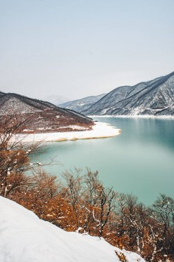 Zhinvali Dam scenic winter view, Georgia. Europe