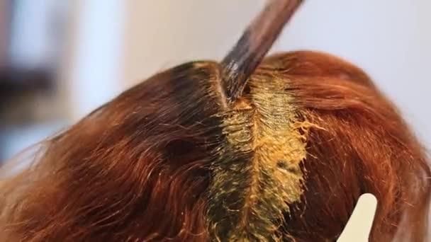 közelről. a haj festése fogalmát. hajfestékek a nő haját egy ecsettel