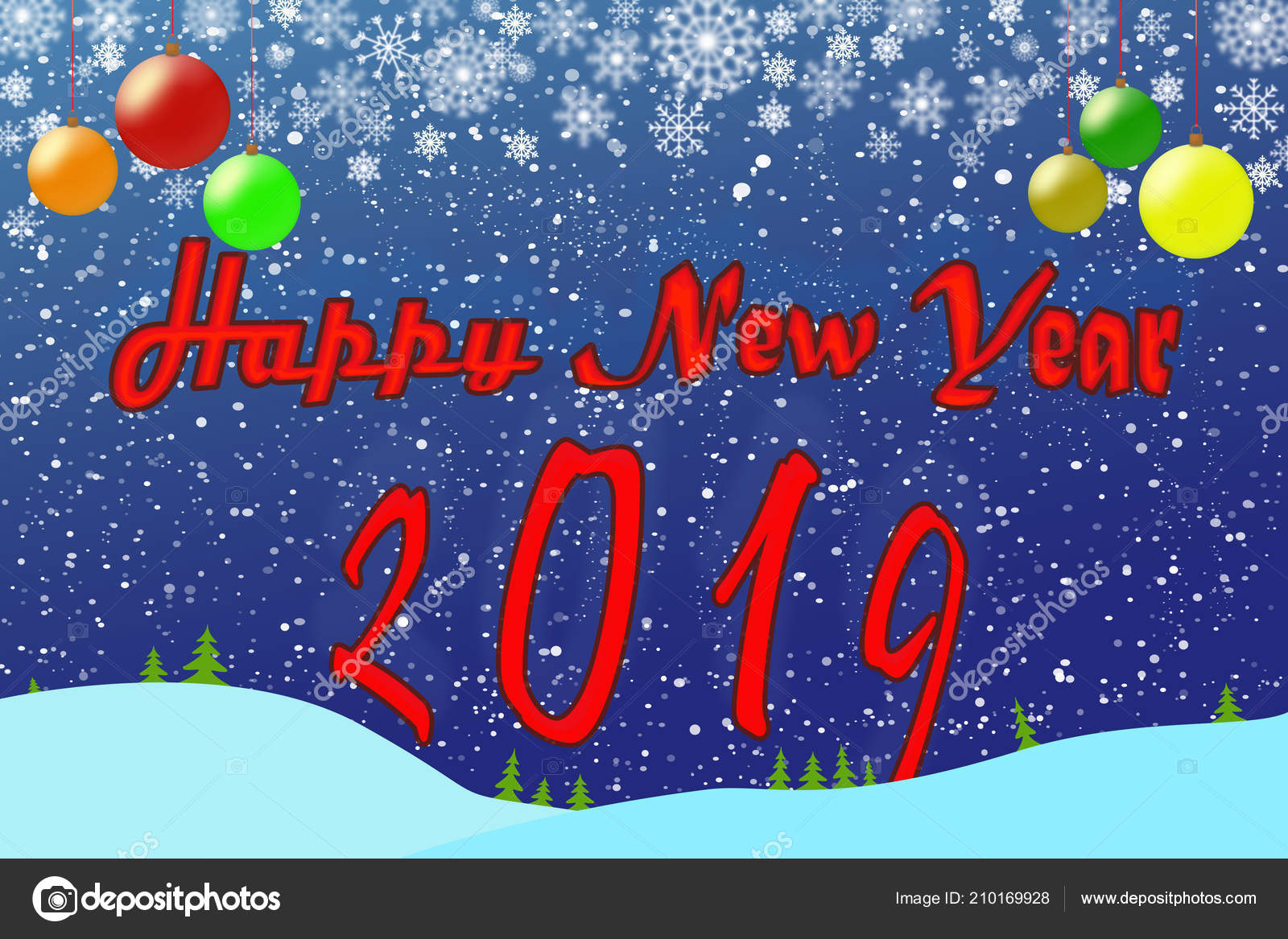 template new year greetings 2019 blue background christmas colorful balls stock photo