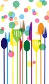 Fesztivál színes buborékok, élelmiszer, evőeszközök
