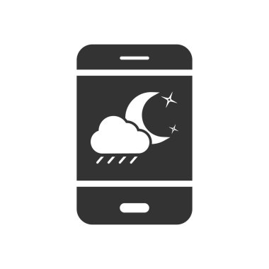 Vector mobile phone icon with night and rain icon. Simple flat design for apps and web sites icon