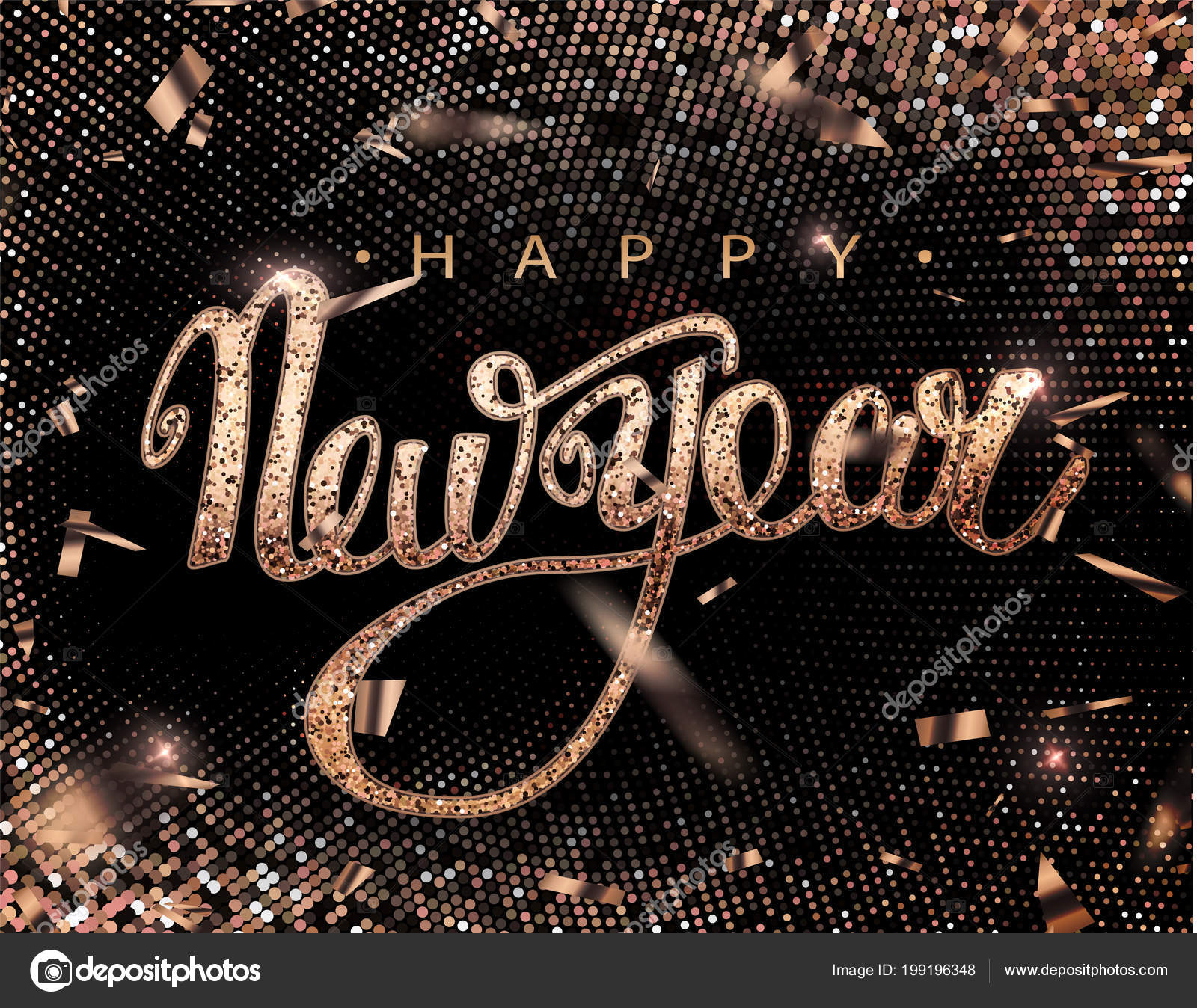 happy new year lettering greeting card for holiday rose golden confetti falls calligraphy lettering