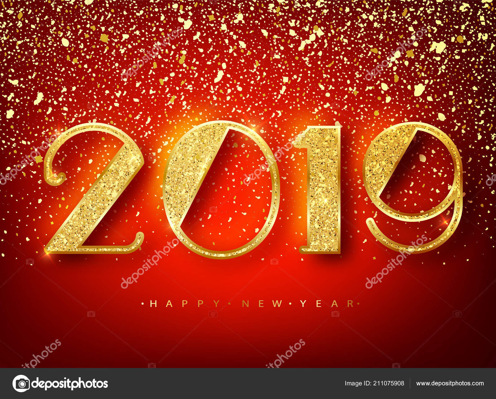 2018 happy new year greeting card with shining gold numbers confetti frame vector illustration brochure design template business diary cover vector by