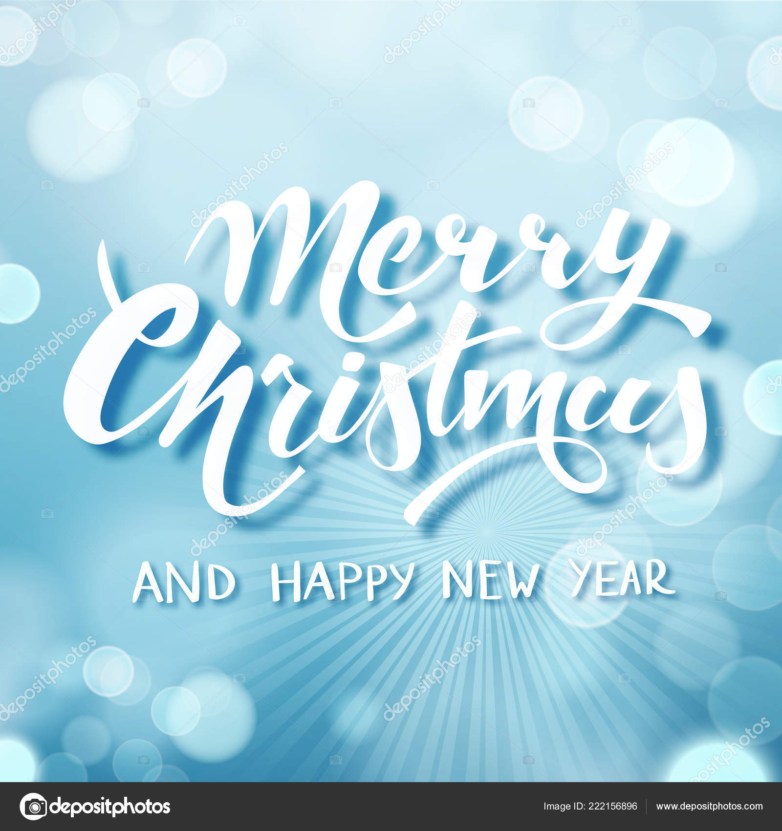 Blue Merry Christmas Text, hand drawn lettering. Holiday greetings ...