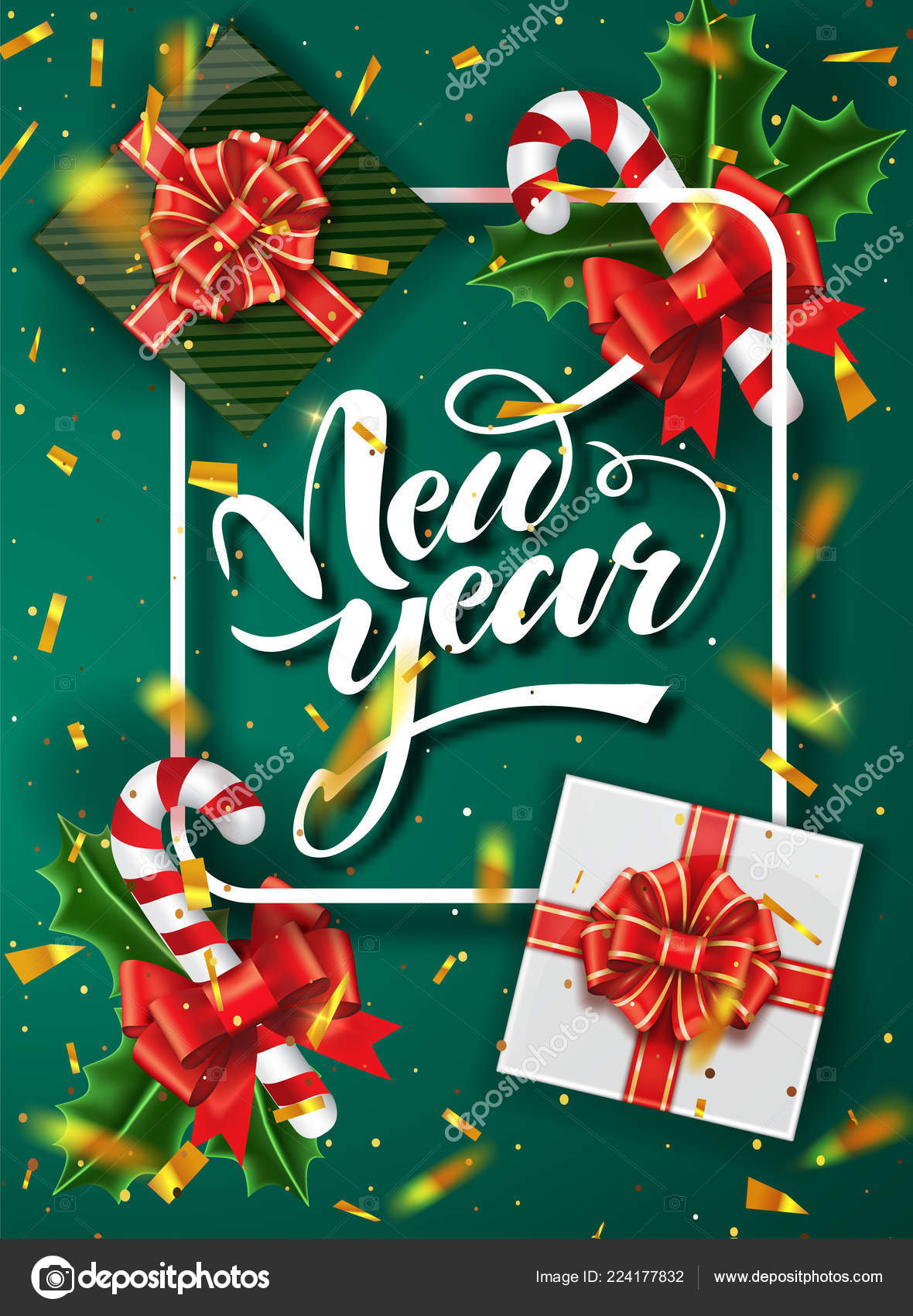 christmas green design vector template calligraphic new year lettering decorated christmas poster template vector illustration eps10 vector by