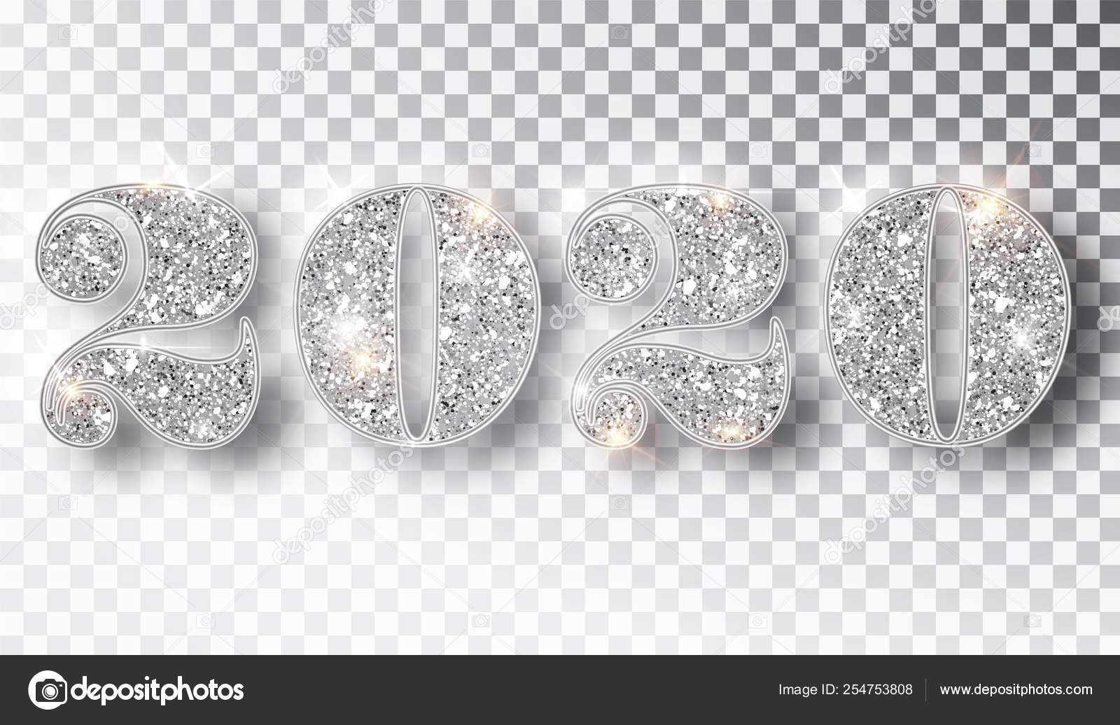 Happy New Year 2020 Glitter 2020 glitter typography design template. Silver sparkling Numbers