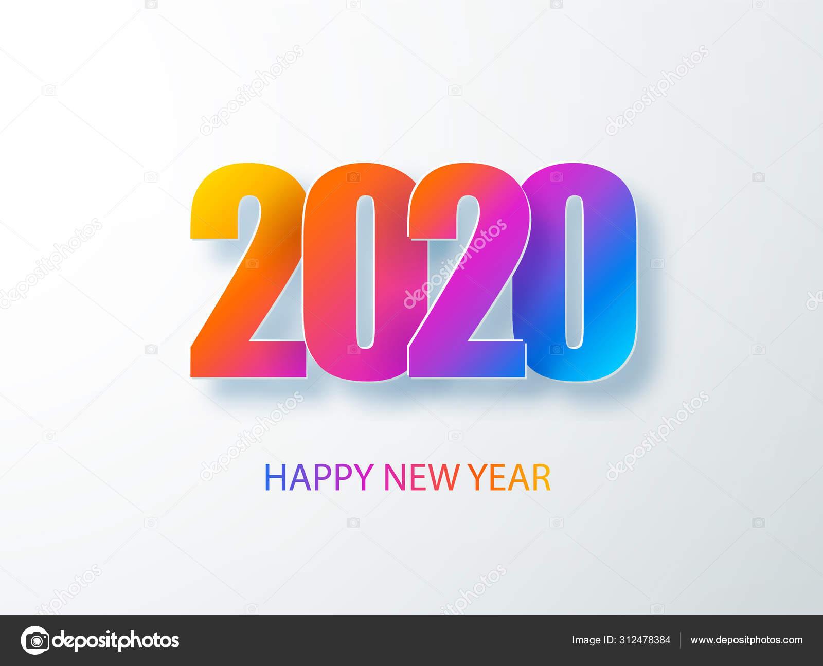 Feliz 2020 Nuevo Año Bandera De Color En Estilo Papel