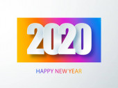 Happy 2020 new year colour banner in paper style for your seasonal holidays flyers. Cover of business diary for 2020 with wishes. Greetings and invitations, christmas themed congratulations and cards