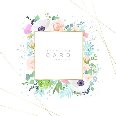 Design of greeting card with cute flowers