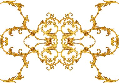 Golden arabesque with golden scrolls and roses stock vector